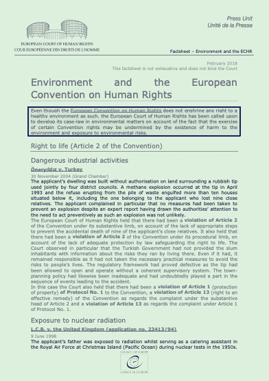 Environment and the EC